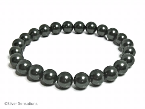 Grey Green South Sea Shell Pearls Stretch Bracelet
